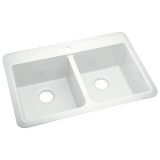 """Sterling 1042-1 Slope 33"""" Double Basin Drop In or Undermount Acrylic Kitchen Sin"""