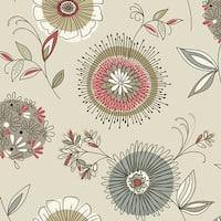 Brewster 2535-20675 Maisie Grey Floral Burst Wallpaper