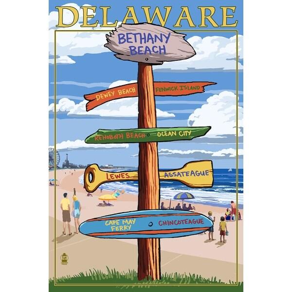 Bethany Beach, DE - Dest Sign - LP Artwork (Acrylic Wall Clock)