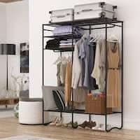LANGRIA Heavy-Duty Metal Storage Closet Clothes Shoe Rack Organizer