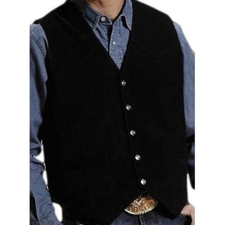 Roper Western Vest Mens Leather Vest Snap Black