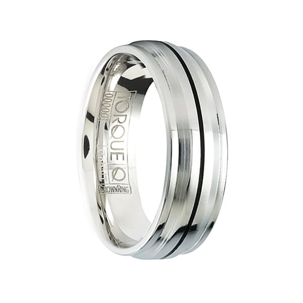 DHALSIM Men's Cobalt Wedding Ring Black Linear Center Design Polished Step Edges by Crown Ring - 7mm