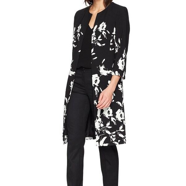 Kasper Black Vanilla Womens Size 8 Floral Print Flyaway Jacket