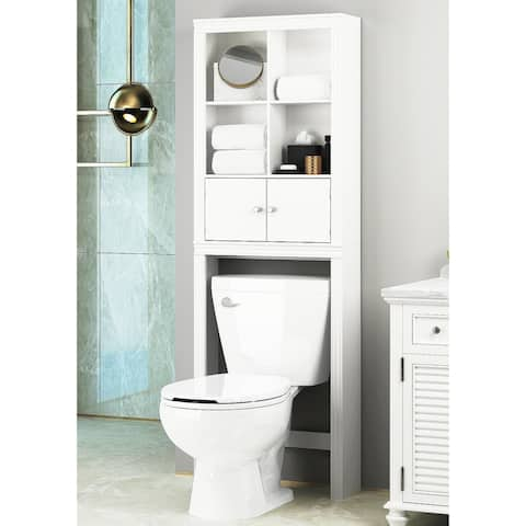 Spirich Home Bathroom Shelf Over The Toilet with 4 Cubbies, Bathroom Cabinet Organizer Over Toilet, Space Saver Cabinet Storage