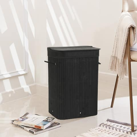 Sophia&William Laundry Hamper 72L Dirty Clothes Bamboo Storage Basket with Lid Liner and Handles Rectangular