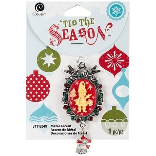 Tis The Season Accents-Green & Red Christmas Cameo 1/Pkg