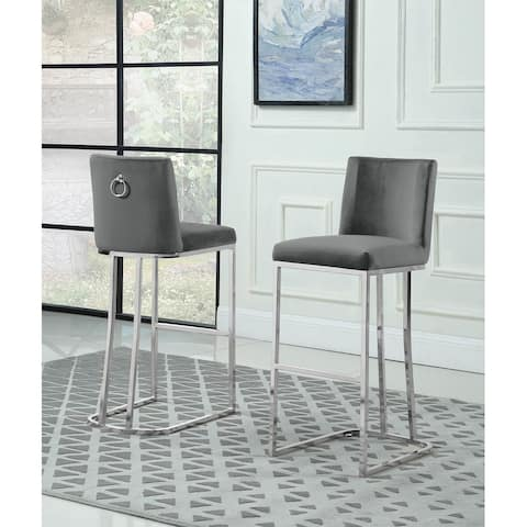 Best Quality Furniture Bar Stools with Chrome Base (Set of 2)