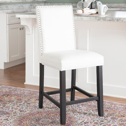 Linon James White Fabric 24-inch Counter Stool