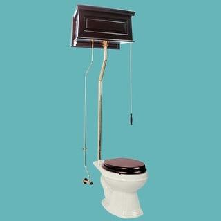 Dark Oak High Tank L-Pipe Toilet Elongated Biscuit Bowl