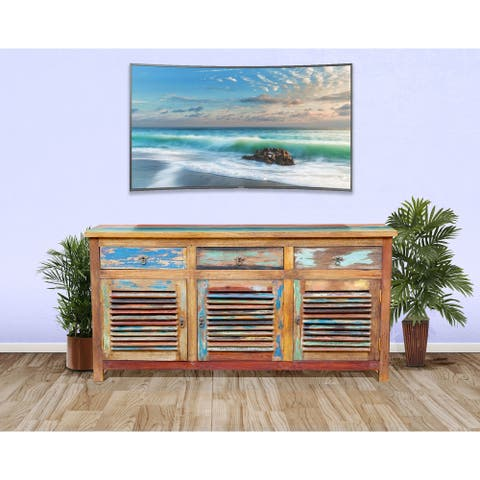 Chic Teak Chest / Media Center 3 Doors and 3 Drawers made from Recycled Teak Wood Boats