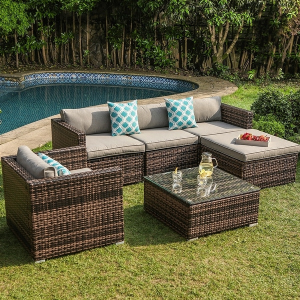 COSIEST Outdoor 6-piece Wicker Sectional Sofa with Cushions. Opens flyout.