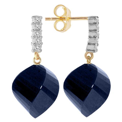 30.65 Carat 14K Solid Gold Gemstone Earrings Diamond Sapphire
