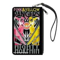 Pink & Yellow Rangers Art Deco Action Pose Heart Canvas Zipper Wallet