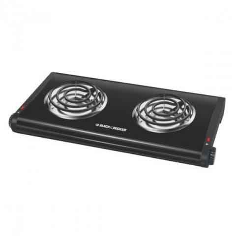 Black & Decker DB1002B Double Burner Portable Buffet Range, Black