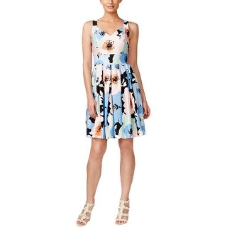 Calvin Klein Womens Petites Casual Dress Floral Print Pleated