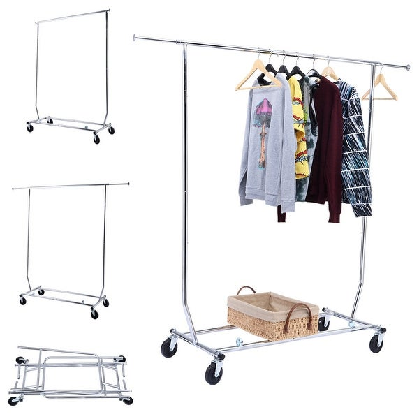 Costway Heavy Duty Commercial Grade Clothing Garment Rolling Collapsible Rack Chrome - Silver