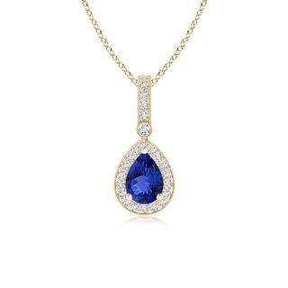 Angara Vintage Diamond Halo Tanzanite Drop Pendant in Prong Setting - White