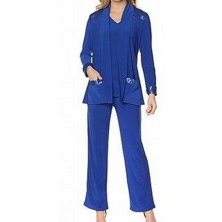 Antthony NEW Royal Blue Womens Size Small S 3PC Sequined Pant Set