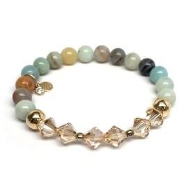 Green Amazonite 'Chloe' Stretch Bracelet, Swarovski Crystal 14k over Sterling Silver