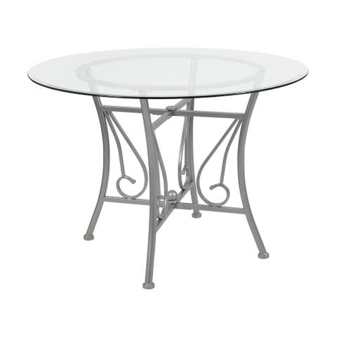 """42"""" Clear and Silver Contemporary Round Glass Dining Table"""