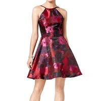 Xscape Black Red Womens Size 2 A-Line Floral Fit N Flare Dress