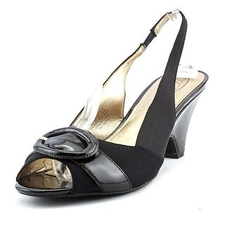 Circa Joan & David Neera Women Open-Toe Leather Black Slingback Heel