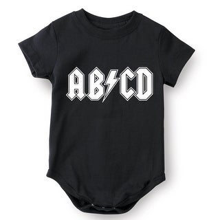 What On Earth Unisex-Baby AB/CD Black One Piece Snapsuit, Funny Alphabet Shirt
