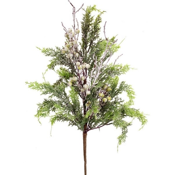 Pack of 6 Snowy Cedar with Twigs and White Berries Artificial Decorative Christmas Sprays 30""