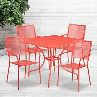 Link to 35.5'' Square Indoor-Outdoor Steel Patio Table Set with 4 Square Back Chairs Similar Items in Outdoor Dining Sets