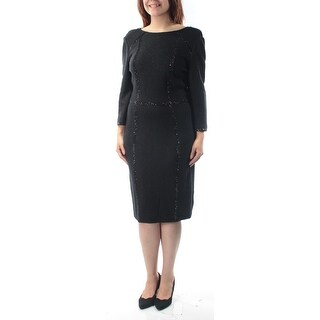 Womens Black Long Sleeve Below The Knee Body Con Evening Dress Size: 6