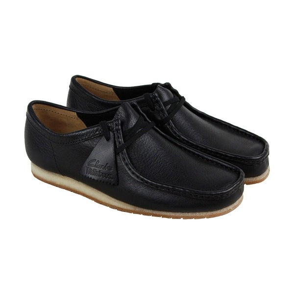 Clarks Wallabee Step Mens Black Leather Casual Dress Lace Up Oxfords Shoes