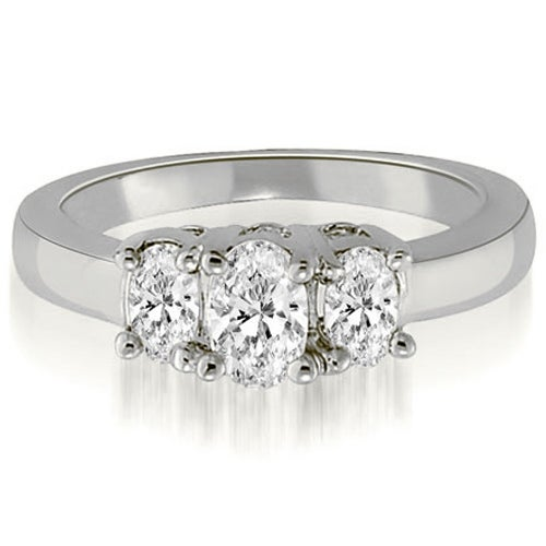 1.75 cttw. 14K White Gold Classic Three-Stone Oval Cut Diamond Engagement Ring