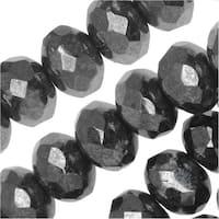 Czech Fire Polished Glass, Donut Rondelle Beads 8.5x6mm, 25 Pieces, Gun Metal