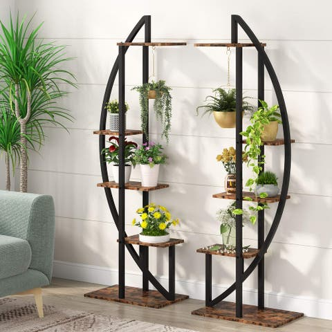 5-Tier Plant Stand with Hook, Curved Display Shelf Flower Stand Rack