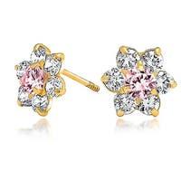 Bling Jewelry 14K Gold Kids Pink CZ Screwback Flower Stud Earrings