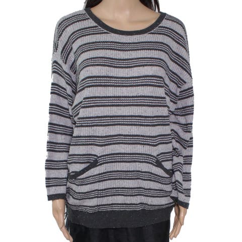 Democracy Women's Sweater Gray Size Large L Pullover Drawstring Pocket