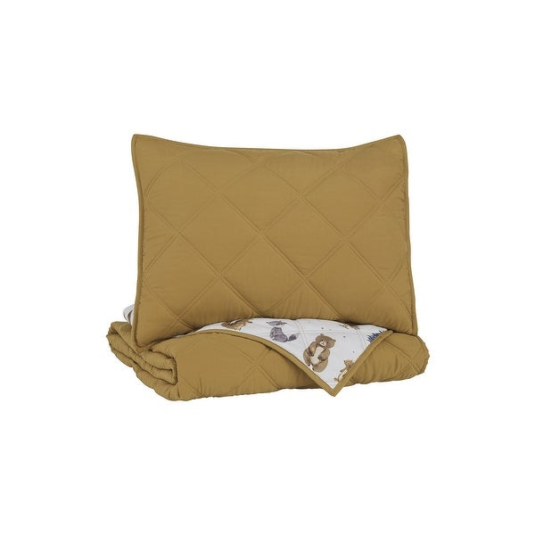Cooperlen Contemporary Youth Golden Brown Quilt Set. Opens flyout.