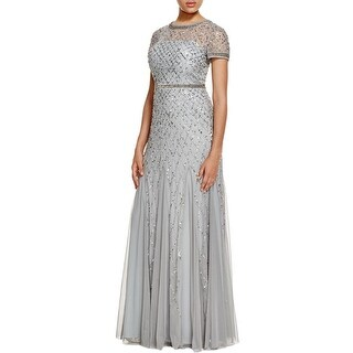 Adrianna Papell Womens Petites Evening Dress Embellished Full-Length