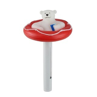 "8.25"" Red and White Polar Bear Floating Swimming Pool Thermometer with Cord"
