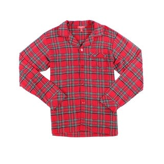 Family PJs Red Mens Small S Button-Down Plaid Flannel Nightshirt