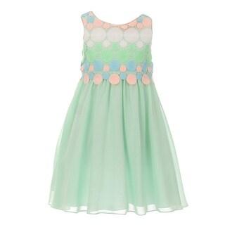 Kids Dream Little Girls Mint Circle Embroidered Chiffon Easter Dress