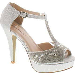 Top Moda Womens Caviar-1 Bridal Formal Evening Party Ankle Strap High Heel Peep Toe Glitter Sandal