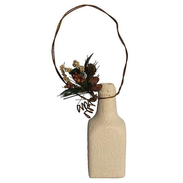 """5"""" Modern Lodge Terracotta Rectangular Bottle Christmas Ornament - WHITE"""