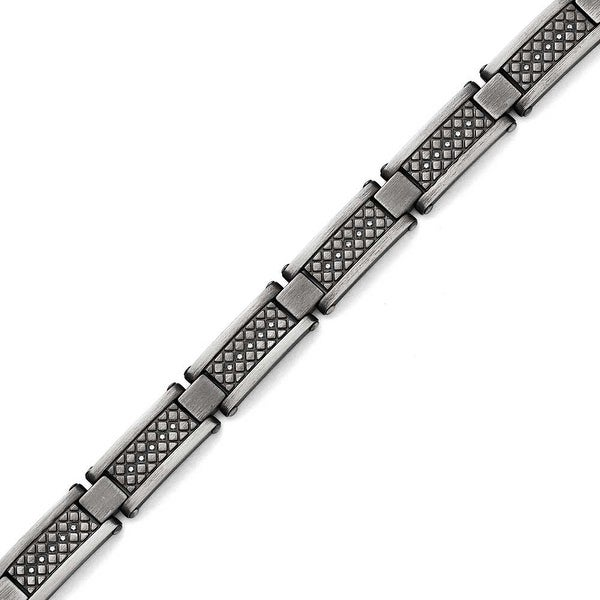 Chisel Stainless Steel Matte/Antiqued 1/10ct.tw Diamond Bracelet