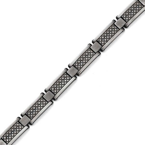 Chisel Stainless Steel Matte/Antiqued 1/10ct.tw Diamond Bracelet