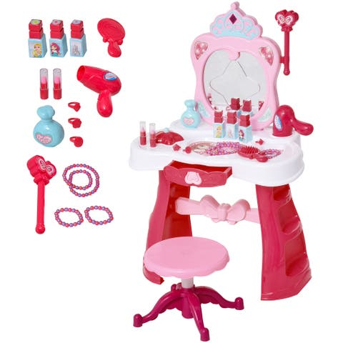Qaba Children Dressing Table Set for Kids Girls of 3-6 Years Princess Vanity Make Up Table and Stool with Music and Lightening