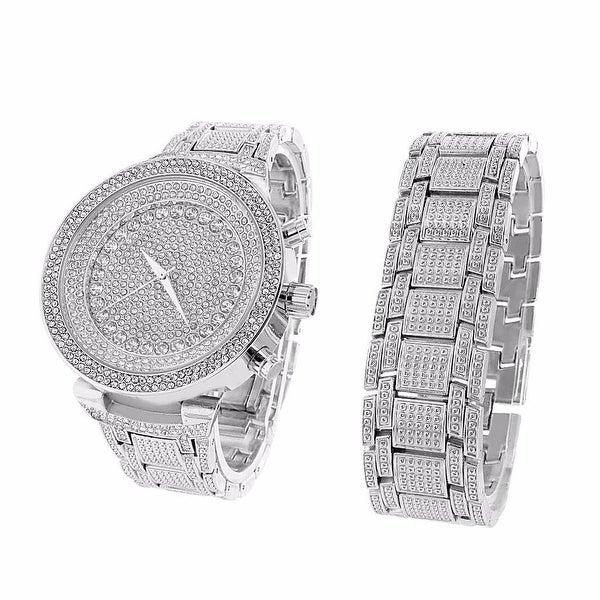 Mens Stainless Steel Back Watch & Bracelet Set Silver Finish Iced Out Simulated Diamonds