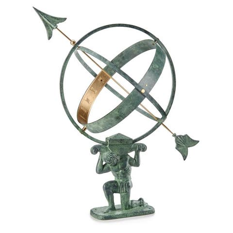 "28"" Verdigris Atlas Armillary Sundial with Brass Accents by Good Directions"