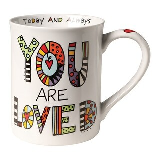 Enesco You Are Loved Today and Always Coffee Mug - Decorated Porcelain Tea Mug - 3.75 in. x 3.75 in. x 4.75