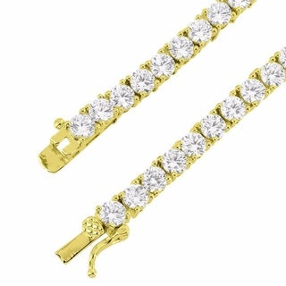 Iced Out 4mm Tennis Necklace Solitaire Lab Diamond 14k Gold Tone 20 IN
